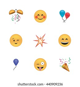 Set of funny emoticon vector isolated on white background. Holiday emoji vector. Smile icon set. Emoticon icon web.