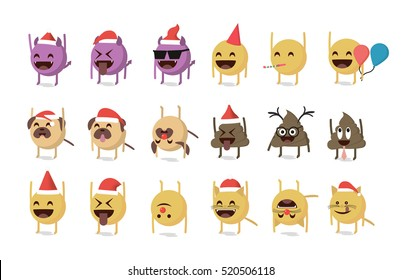 Set of funny emoticon vector isolated on white background. New Year theme. Santa Claus hat vector. Fun emoji.