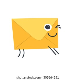 Set with funny  envelope - concept of email.