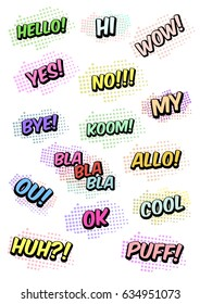 Set of funny exclamations: huh, hello, wow, yes, bye, cool, ok, ou, puff, allo, bla, no