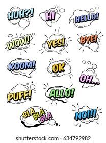 Set of funny exclamations: huh, hi, hello, wow, yes, bye, koom, ok, oh, puff, allo, bla, no