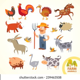 Set funny farm little animals. Funny cartoon character. Vector illustration. Isolated on white background. Farmer, turkey, chicken, cock, horse, dog, sheep, goat, cow, horse, pig, donkey