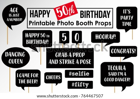 Set Of Funny Fiftieth Birthday Party Photobooth Props Vector Elements