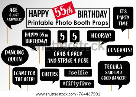 Set Of Funny Fifty Five Birthday Party Photobooth Props Vector Elements