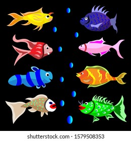 Set of funny fish character. Vector with full color. Fish vector cartoon for children education about animal and color.