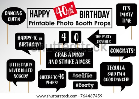 Set Of Funny Fortieth Birthday Party Photobooth Props Vector Elements
