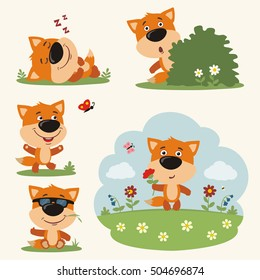 Set of funny fox in different poses on summer meadow with flowers in cartoon style.