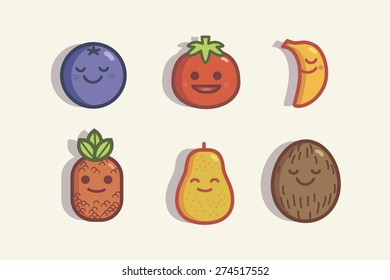 set of funny fruits 2
