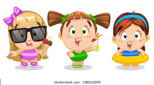 Set of funny girls in swim suits holding icecream cone, glass of drink, inflatable ring. Children enjoying summertime on shore or near pool. Vector cartoon illustration isolated on white background.