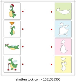 Set of funny green dragons. Educational game for kids. Choose the correct silhouettes on the opposite side and connect the points