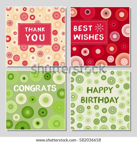 Set Funny Greeting Cards Abstract Geometrical Stock Vector Royalty