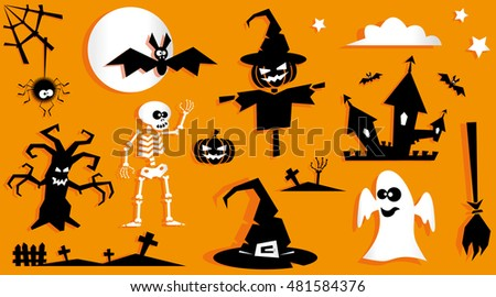 Set Funny Halloween Symbol Pumpkin Scarecrow Stock Vector Royalty