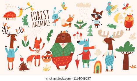 Set of funny hand drawn forest animals. Great for your design ideas, cards, posters and kids room decoration.