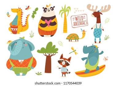 Set of funny hand drawn wild savanna animals. Great for your design ideas, cards, posters and kids room decoration.