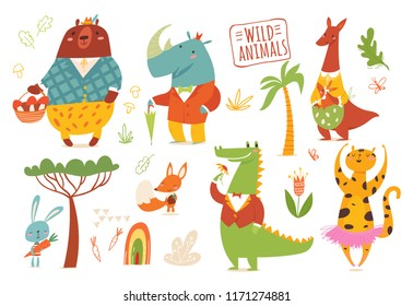 Set of funny hand drawn wild animals. Great for your design ideas, cards, posters and kids room decoration.