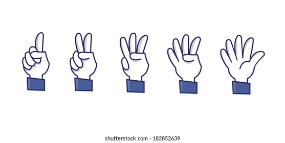 a set of funny hands making numbers