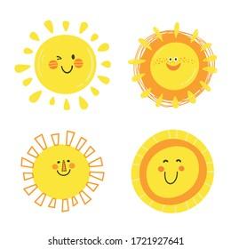 Set of  funny happy suns. Cute kids vector illustration.