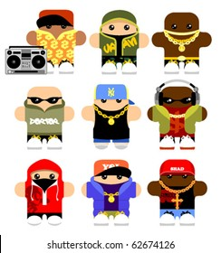 Set of funny hip-hop cartoon characters. Isolated on white.
