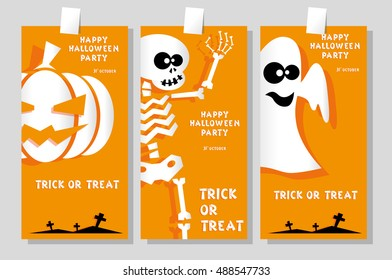 Set of funny holiday banner: title Happy Halloween party Trick or Treat and skeleton, pumpkin, ghost. Concept design cards, flyers, posters. Vector illustration in flat or kids paper applique style