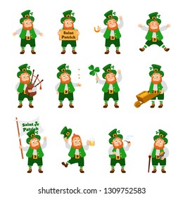 Set of funny Irish fantastic character, gnome leprechaun. Feast day of Saint Patrick. Leprechauns in traditional dress and headgear, in different poses, with objects. Vector cartoon.