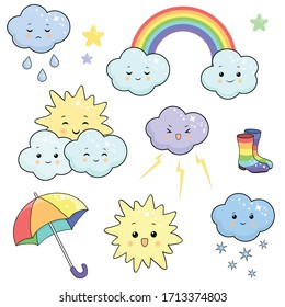 Set of funny isolated weather icons on a white background for children. Vector illustration of sun, rain, snow, clouds, stars, rainbow, umbrella and rubber boots in cartoon kawaii style.