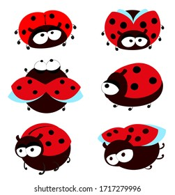 Set of funny ladybugs on a white background. Collection of cute insects in cartoon style. EPS10 vector illustration
