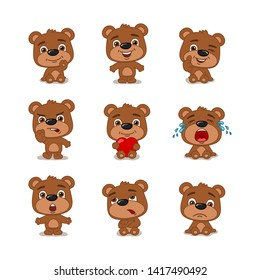 Set of funny little bear in different poses and emotions isolated on white background