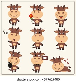 Set of funny little cow in different poses and emotions in cartoon style.