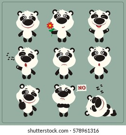 Set of funny little panda bear in different poses and emotions in cartoon style.