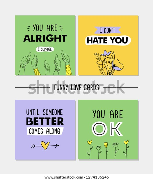 Set Funny Love Cards Sarcastic Quotes Stock Vector (Royalty ...