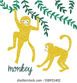 Set of funny monkeys in different poses. Vector hand drawn illustration.