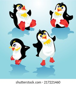Set with funny penguins on blue icy background, cartoons for winter, Christmas or New Year design