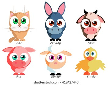 Set funny pets for use as stickers, in games, books, on clothing or fabric, social networks, websites and other projects
