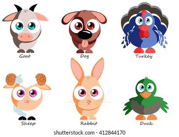 Set funny pets for use as stickers, in games, books, on clothing or fabric, websites and other projects