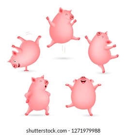 Set of funny pig dancing. Cute cartoon character design. Vector illustration isolated on white background.