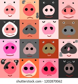 set of funny pig faces