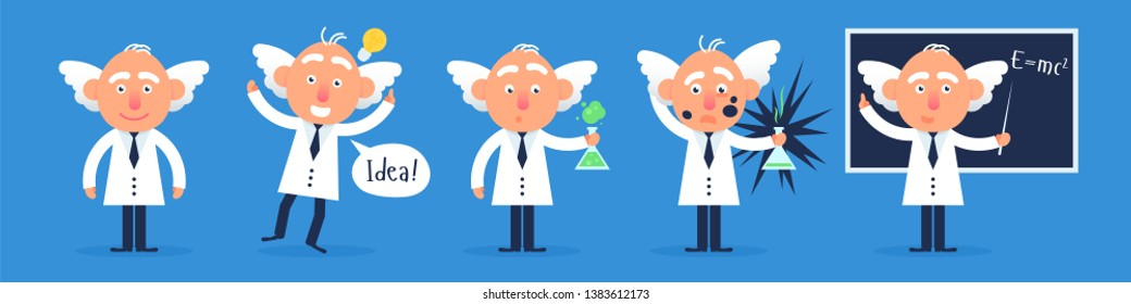 The set of funny professor characters standing in the classroom near blackboard with the test tube and idea worlds. Flat design funny illustration. Back to school idea.