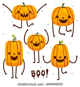 Set with funny pumpkins, cartoon characters, vector, Halloween, collection.