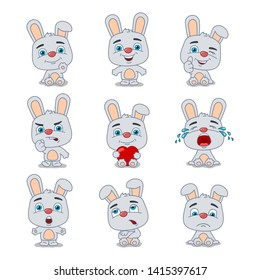 Set of funny rabbit in cartoon style in different poses and emotions isolated on white background