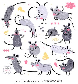 Set of funny rats for design. Cute little mice in different poses. Merry mouse romp. Vector illustration.