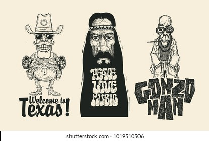 Set of funny retro characters and handwritten inscriptions. Sheriff With Two Revolvers, Gonzo Man And Old Hippie. Vector Illustration.