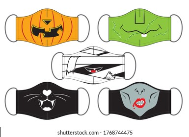 Set of funny reusable mouth masks in vector. Designs for Halloween.