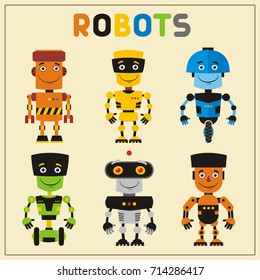 Set funny robots in cartoon style. Collection isolated robots with smile.