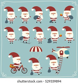 Set of funny Santa Claus in different poses, on bike, parachute and helicopter in cartoon style.