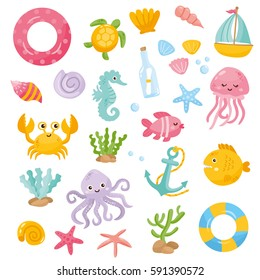 Set with funny sea animals and creatures. Cartoon illustration with underwater animals. Summer, beach and sea elements.