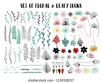 Set of funny sketch and colorful flowers, foliage, grass. Isolated design elements.