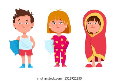 Set of Funny Sleepy Children are in Pajamas with Pillows and Wrapped in a Blanket. Cute Dissatisfied Kids Wants to Sleep. Cartoon Style Vector Illustration