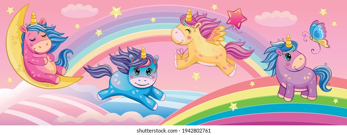 Set funny small unicorns. Cute little pony or horse. Fairytale background with rainbows and animals. Fabulous landscape. Children's wallpaper. Cartoon illustration. Wonderland. Toy or doll. Vector.