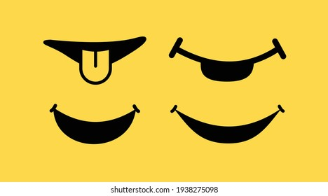 Set funny smile icon on yellow background in vector. Cartoon smile vector set with illustration.