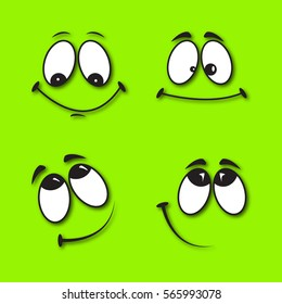 Set of funny smiles on a green background with a realistic shadow. Comic facial expression